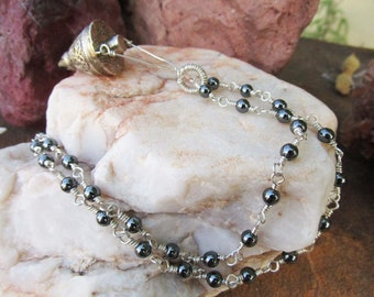 Cone Vessel with Hand Made Sterling Silver and Hematite Chain~Essential Oil Necklace~Grounding~Anointing