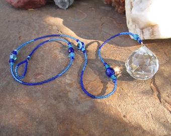 Repel Evil Eye Crystal Suncatcher Pendulum~Blue Tones~Peaceful Blue~Pendulum~Divination Tool