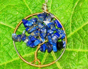 ON SALE!~Tree of Life Wire Wrapped Pendant German Silver and Red Brass with Lapis Lazuli