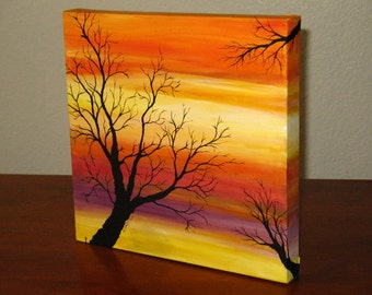 "Original Artwork ""AUTUMN""  Acrylic painting on canvas Fall colors with tree"