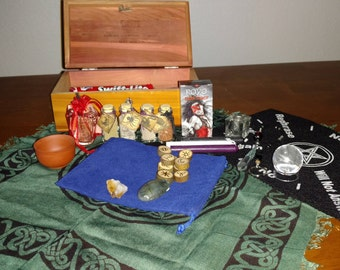 Mini~Divination Kit~Hand Made Witches Runes~Hand Made Pendulum and MORE~
