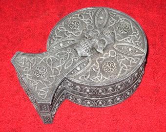 Celtic Design and Skull Resin Altar Box~Jewelry Box~Samhain or Halloween Decoration