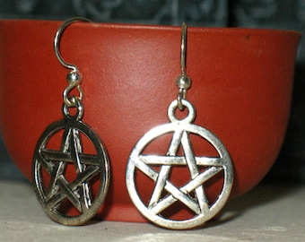 Simple Small Interwoven Silver Pentacle Earrings for Pierced Ears~Pagan and Ritual Jewelery