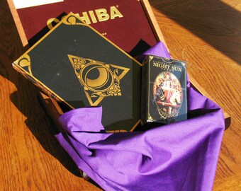 Hand Made Altar or Tarot Reading Cloth with Collectible Cohiba Cigar Box and Night Sun Tarot Deck and Journal Kit