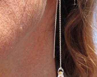 Swarovski AB Crystal and Sterling Silver Ear Threads~Rainbows~Chains~Formal~Wedding Jewelry~Magical