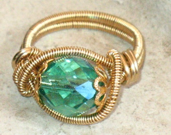 ON SALE - Wire Wrapped Red Brass and Green Crystal ring size 7.5