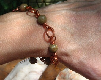 Autumn Jasper and Copper Link Bracelet~8 INCHES~Adjustable