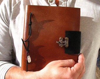 Handmade Leather Bound Journal with Metal Latch~Book of Shadows~Blank Book