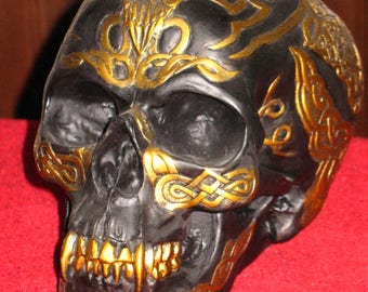 ON SALE!~Black and Gold Celtic Vampire Skull~Altar Decoration~Samhain~Halloween