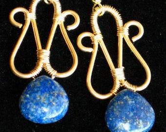 ON SALE! - Lapis Lazuli on Red Brass Wire Wrapped Earrings for Pierced Ears