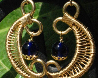 Red Brass Wire Weave Moon Earrings with Cobalt Blue Beads for Pierced Ears