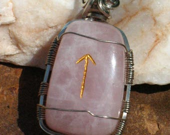 Rose Quartz 'Teiwaz' Rune Pendant in Steel Wire~Rune Magick~Elder Futhark~Viking~Norse