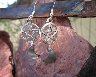 Pentacle and Moon Earrings~Black Lip Shell~Tibet Silver~Ritual Jewelry~Moon Magick~For Pierced Ears~Set #5