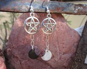 Pentacle and Moon Earrings~Black Lip Shell~Tibet Silver~Ritual Jewelry~Moon Magick~For Pierced Ears~Set #4