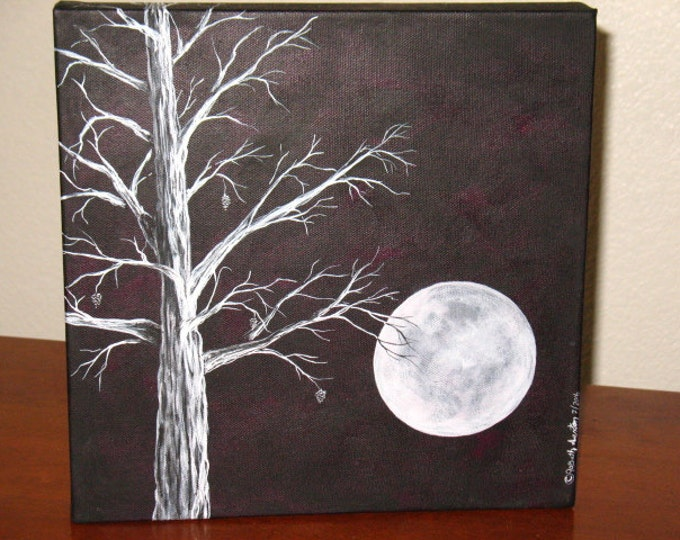 Featured listing image: Original Painting~Acrylic on deep canvas~Full Moon and Tree~Winter Moon