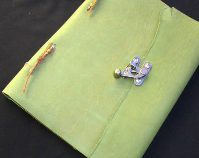 Featured listing image: ON SALE! ~Green Heavy Leather Bound~Book of Shadows~Journal~RUSTIC~110 Pages