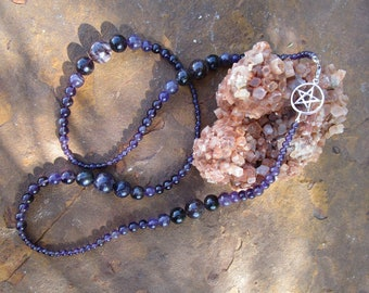 Amethyst and Pentacle Necklace~All Amethyst and Sterling Silver~High Priestess~Mother Goddess~Wear Long or Two Lengths