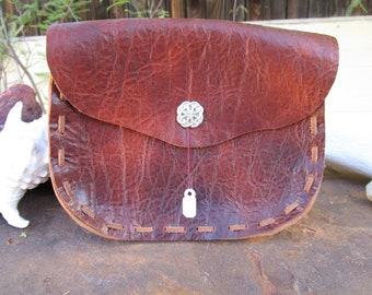 Reddish Brown Leather Belt Pouch~Renaissance Faire Accessory~Ritual Pouch~LARP~Hand Stitched~Costume