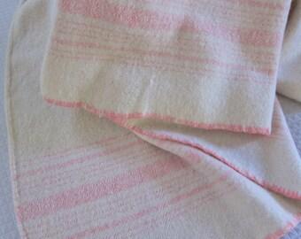 Primitive blanket, antique wool blanket , hand woven ,farmhouse decor., country bedding. pink bedcover, homespun blanket, prim wool blanket