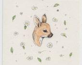 ON SALE... Deer in Roses (original painting)