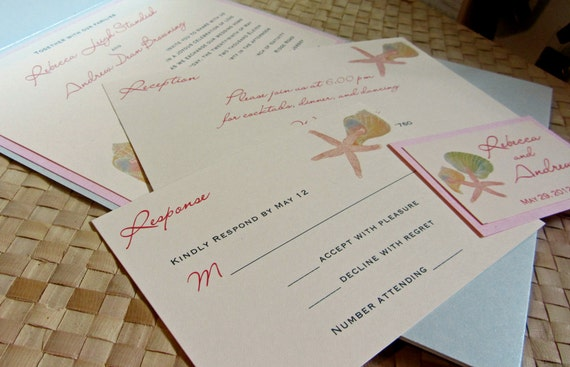 Starfish Wedding Invitation Kit: Starfish Pocket Fold Wedding Invitation Beach Themed