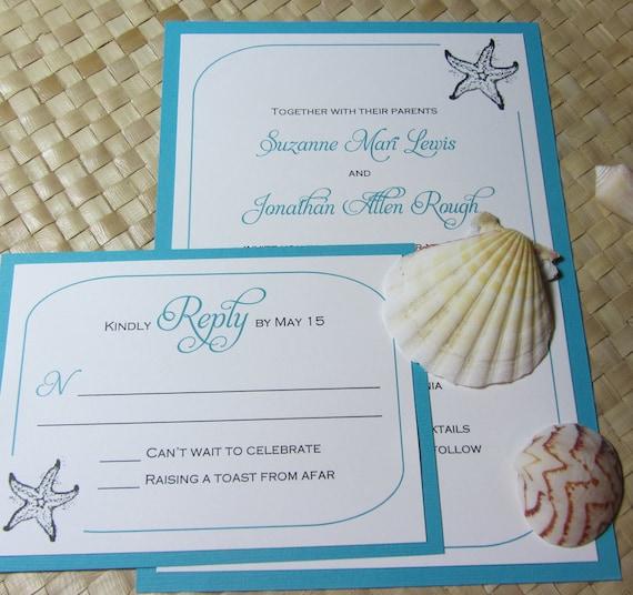 Etsy Beach Wedding Invitations: Beach Wedding Invitation Starfish Invitation Shell Wedding