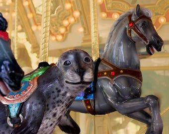 Carousel Art Print, Boardwalk Photograph, Sea Lion Art, Carousel Horse, Dreamy Photo, Circus Theme Nursery or Kids Bedroom