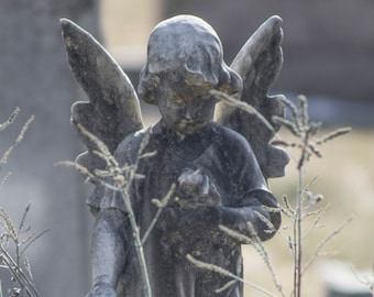 Guardian Angel Photo, Peaceful Cemetery Art, Child Angel with Wings Photography Print, Be Still and Know Christian Catholic Decor