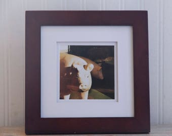 Surreal Art Photography, Pig in the Window, Small Framed Home Or Office Photo Print