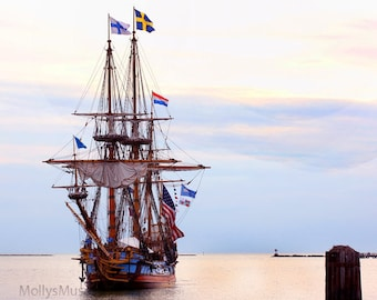 Nautical Photograph, Tall Sails Ship Print, Old World Decor, Kalmar Nykel Boat on the Ocean Sea, Pink Blue Sunset