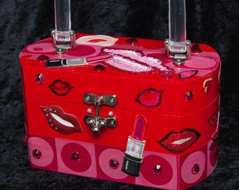Lips N' Love, Box purse,Red,Pink, Embellishments, Valentines Day, Clear Handle,