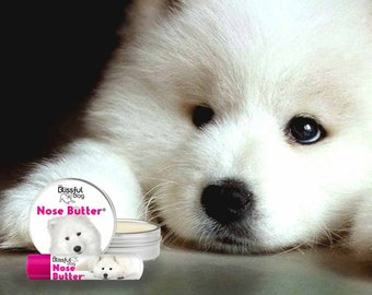 Samoyed Nose Butter® Handcrafted in Minnesota Using All Natural Balm for Crusty or Dry Dog Noses Tins & Tubes with Samoyed Label