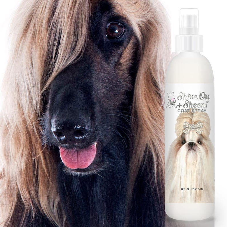 Blissfully Clean Dogs SHINE-ON + SHEEN Dog Coat Spray Leave-In Conditioner,  De-Tangler, De-Matter & Coat Polish 4 oz, 8 oz, 16 oz Bottle