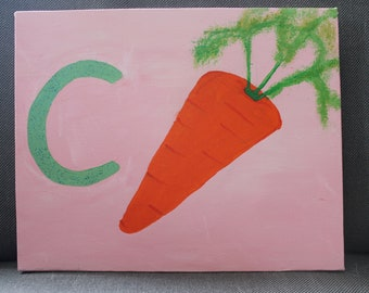 C for Carrot (Acrylic on Canvas)