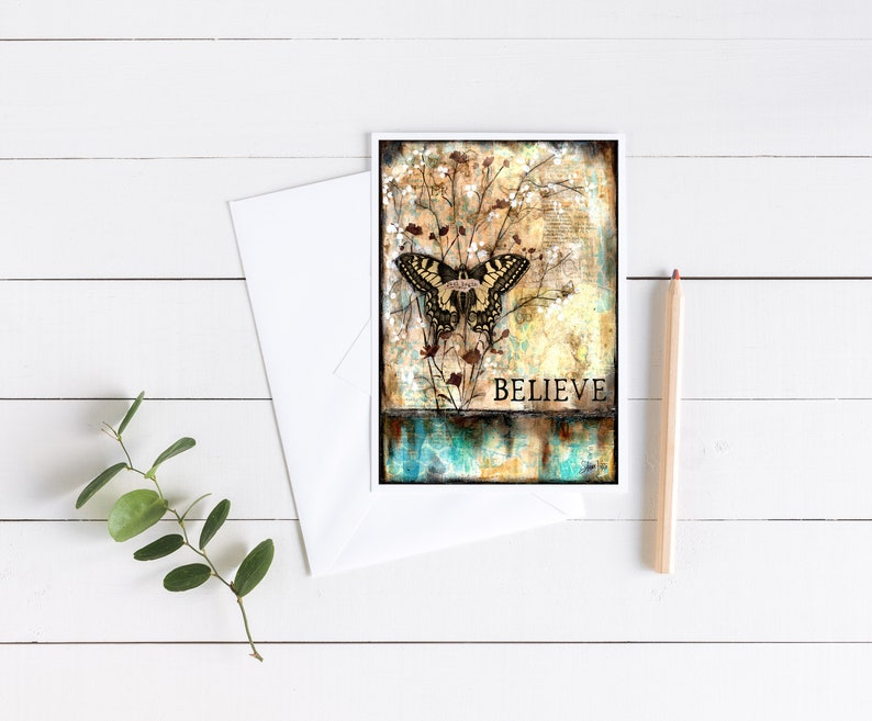 Believe butterfly 5x7 single NoteGreeting Card Shawn Petite cards painting art journaling