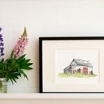 "Lake Centre Barn Print - Limited Edition Print of a Watercolour original -  8"" x 10"", Country Decor, Barn Art Print, Farmhouse Decor"