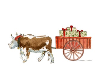 "Lunenburg County Ox Cart - Limited Edition Print of a Watercolour original -  8"" x 10"", Country Decor, Oxen, Farmhouse Decor"