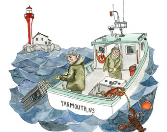 "Lobster Fishing - Nautical Art Print, Boat Art, Yarmouth, Nova Scotia - Limited Edition Print of a Watercolour original -  8"" x 10"""