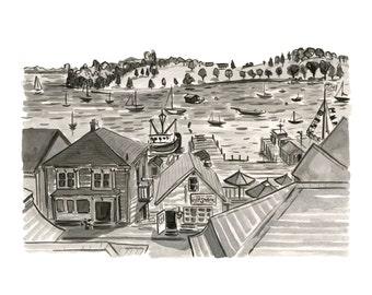 "Lunenburg Waterfront, Nova Scotia, Nautical Kitchen Art, Black and White - Limited Edition Art Print India Ink original - 11"" x 14"""