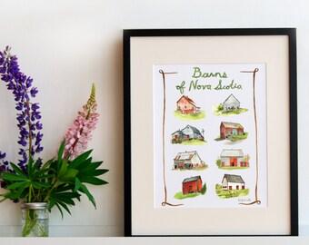 "Barns of Nova Scotia - Archival Print of Original Watercolour Painting - 11"" x 14"" Kat Frick Miller"