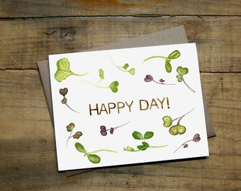 """Happy Day Sprouts Card 4.25"""" x 5.5"""" Watercolour Greeting Card with Envelope - Farming, Microgreens"""