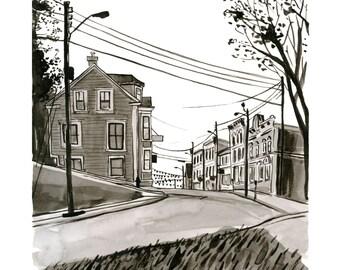 "Lincoln Street, Lunenburg Nova Scotia, Kitchen Art, Black & White - Limited Edition Art Print India Ink -  8"" x 10"", Kat Frick Miller"