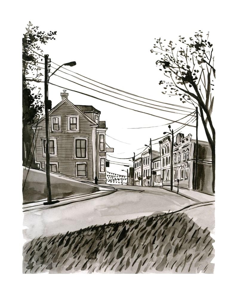 Lincoln Street Lunenburg Nova Scotia Kitchen Art Black & image 0