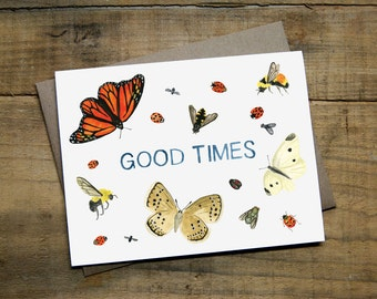 """Good Times Pollination Card 4.25"""" x 5.5"""" Watercolour Greeting Card with Envelope - Butterflies, Bees, Pollinators, Bugs"""