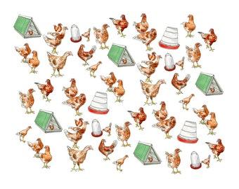 "Kitchen Art, Farming Art, Pleasant Hill Chicken Pattern - Print of Watercolour Original - 11"" x 14"", Kat Frick Miller"