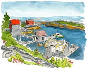 "Fishing Shacks in Blue Rocks, Nova Scotia - Limited Edition Art Print of original - 11"" x 14"""