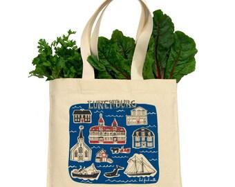 Lunenburg Tote Bag - Cotton Canvas Gusseted Market Bag with Screenprint of Nova Scotia