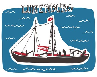 Lunenburg Landmarks Post Card Set of Four - Nova Scotia, Bluenose, Seaside, Souvenir
