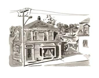 """Boat Shop, Lunenburg, Nova Scotia, Houses, Kitchen Art, Black and White - Limited Edition Art Print India Ink original -  8"""" x 10"""""""