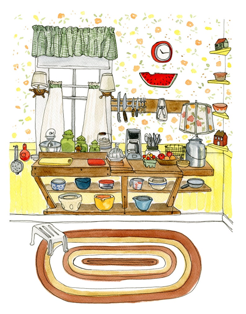 Country Kitchen Gift For Women Archival Print Of Original Watercolour Painting 11 X 14 Sue S Kitchen